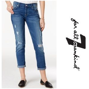 7 for all Mankind Josefina Skinny Boyfriend distressed button fly jeans blue 26